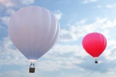 3D illustration hot air balloon on sky background. White, red, blue, green and yellow air ballon flyes on sky. 3D illustration hot air balloon on sky background Stock Photography