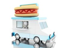 3d Hot dog food truck. 3d illustration. Hot dog food truck. Fast food concept. Isolated white background Stock Images