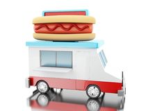 3d Hot dog food truck. 3d illustration. Hot dog food truck. Fast food concept. Isolated white background Royalty Free Stock Photography