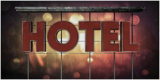 Hotel sign. 3d illustration of an hotel sign in old grunge picture royalty free illustration