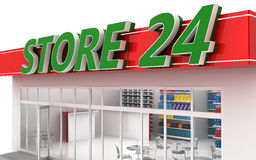 3D illustration of a 24-hour store with cafe. Isolated on white Royalty Free Stock Photography