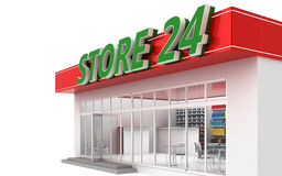 3D illustration of a 24-hour store with cafe. Isolated on white Royalty Free Stock Image