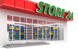 3D illustration of a 24-hour store with cafe. Isolated on white Royalty Free Stock Photo