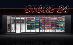 3D illustration of a 24-hour store at night. 3D illustration of a 24-hour store with cafe at night Stock Image