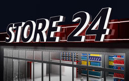 3D illustration of a 24-hour store at night. 3D illustration of a 24-hour store with cafe at night Stock Photo