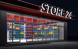 3D illustration of a 24-hour store at night. 3D illustration of a 24-hour store with cafe at night Royalty Free Stock Photography