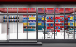 3D illustration of a 24-hour store at night. 3D illustration of a 24-hour store with cafe at night Royalty Free Stock Photos