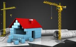 3d of house blocks construction. 3d illustration of house blocks construction with crane over black background Stock Image