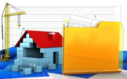 3d of house blocks construction. 3d illustration of house blocks construction with crane over business graph background Stock Images