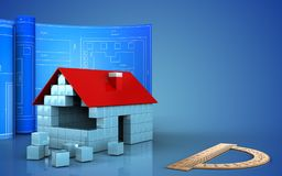 3d of house blocks construction. 3d illustration of house blocks construction with drawing roll over blue background Stock Image