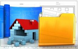 3d of house blocks construction. 3d illustration of house blocks construction with drawing roll over blueprint background Royalty Free Stock Photos