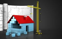 3d of house blocks construction. 3d illustration of house blocks construction with drawings over black background Royalty Free Stock Photography