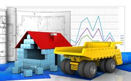 3d. Illustration of house blocks construction with drawings over business graph background Stock Image