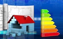 3d of house blocks construction. 3d illustration of house blocks construction with drawings over digital background Stock Photo