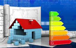 3d of power rating. 3d illustration of house blocks construction with drawings over digital background Royalty Free Stock Photography