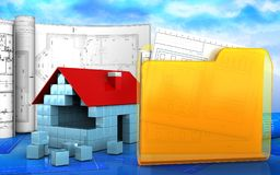 3d of house blocks construction Royalty Free Stock Images