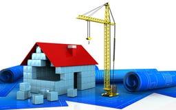 3d of house blocks construction. 3d illustration of house blocks construction over white background Stock Photo