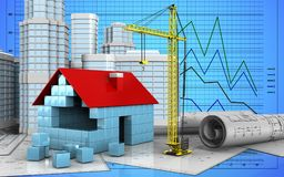 3d of house blocks construction. 3d illustration of house blocks construction with urban scene over graph background Royalty Free Stock Photo