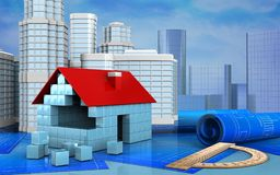 3d illustration of house blocks. Construction with urban scene over skyscrappers background Stock Photography