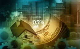 3d illustration of house and dollar. On digital background Stock Image