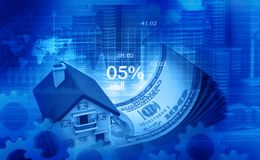 3d illustration of house and dollar. On digital background Stock Images