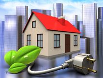 3d eco power cable over city. 3d illustration of house with eco power cable over city background Stock Photo