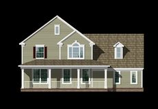 3D House elevation isolated on black. 3D Illustration of a house elevation, with the isolation work path included in the file Stock Photography