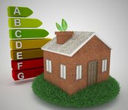3d illustration of house with energy efficiency symbol Stock Photography