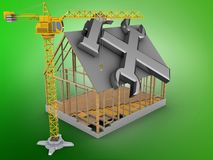 3d house frame. 3d illustration of house frame over green background with repair symbol and crane Royalty Free Stock Photography