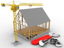 3d crane. 3d illustration of house frame over white background with wrench and crane Stock Image