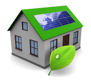Solar energy. 3d illustration of house with leaf and solar panel, alternative energy concept Royalty Free Stock Image