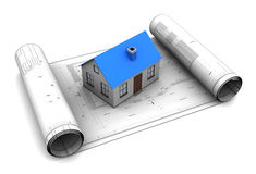 House bluerints. 3d illustration of house model on blueprint roll Royalty Free Stock Photos