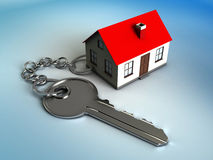 Home key. 3d illustration of house model with key, own home concept Stock Photos