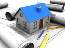 House design. 3d illustration of house model over blueprints Stock Photography