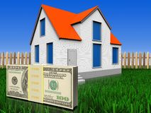 3d money over lawn and fence Stock Photo