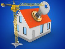 3d crane. 3d illustration of house red roof over blue background with key and crane Royalty Free Stock Photography