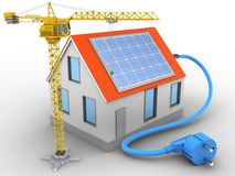 3d solar power. 3d illustration of house red roof over white background with solar power and crane Stock Photography