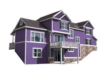 3D Illustration of a house with ultra violet siding Royalty Free Stock Photo