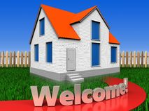 3d welcome sign over lawn and fence. 3d illustration of house with welcome sign over lawn and fence background Stock Photo