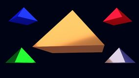 3d illustration of hovering glossy pyramids. And a dark blue background vector illustration