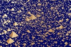 3d illustration of golden hovering pyramids. 3d illustration of hovering glossy pyramids and a dark blue background royalty free illustration