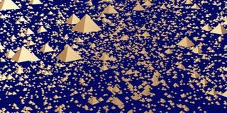 3d illustration of golden hovering pyramids. 3d illustration of hovering glossy pyramids and a dark blue background stock illustration