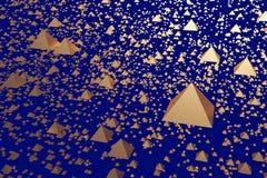 3d illustration of golden hovering pyramids. 3d illustration of hovering glossy pyramids and a dark blue background vector illustration