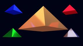 3d illustration of hovering glossy pyramids. And a dark blue background royalty free illustration
