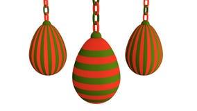 3d-illustration, huevos de Pascua que cuelgan en una cadena Fotografía de archivo libre de regalías