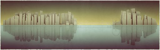 Big city silhouette. 3d illustration of a huge cityscape mirroring into the sea Royalty Free Stock Image