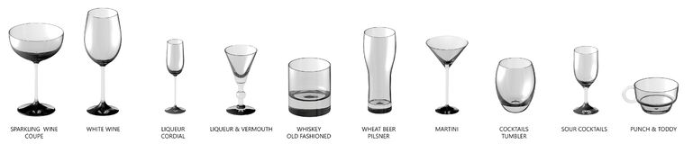3D illustration of huge collection of different glasses for cocktails and wine and other drinks isolated on white, side-top view royalty free illustration