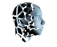 3d illustration of human head broken on pieces as a symbol of mental disorde royalty free stock photo