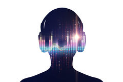3d illustration of human with headphone on Audio waveform abstra Royalty Free Stock Image