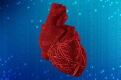 3d illustration of human heart on futuristic blue background. Digital technologies in medicine. 3d illustration of human heart with mesh texture modeling on stock image